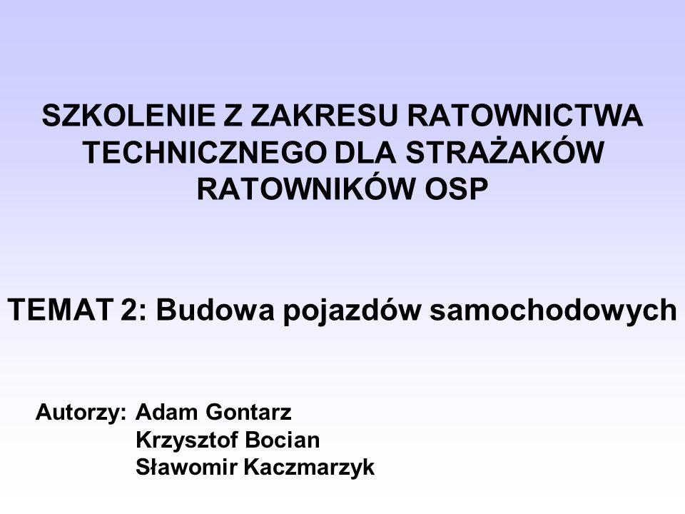 SZKOLENIE Z ZAKRESU RATOWNICTWA TECHNICZNEGO DLA STRAŻAKÓW RATOWNIKÓW OSP TEMAT 2: Budowa pojazdów samochodowych