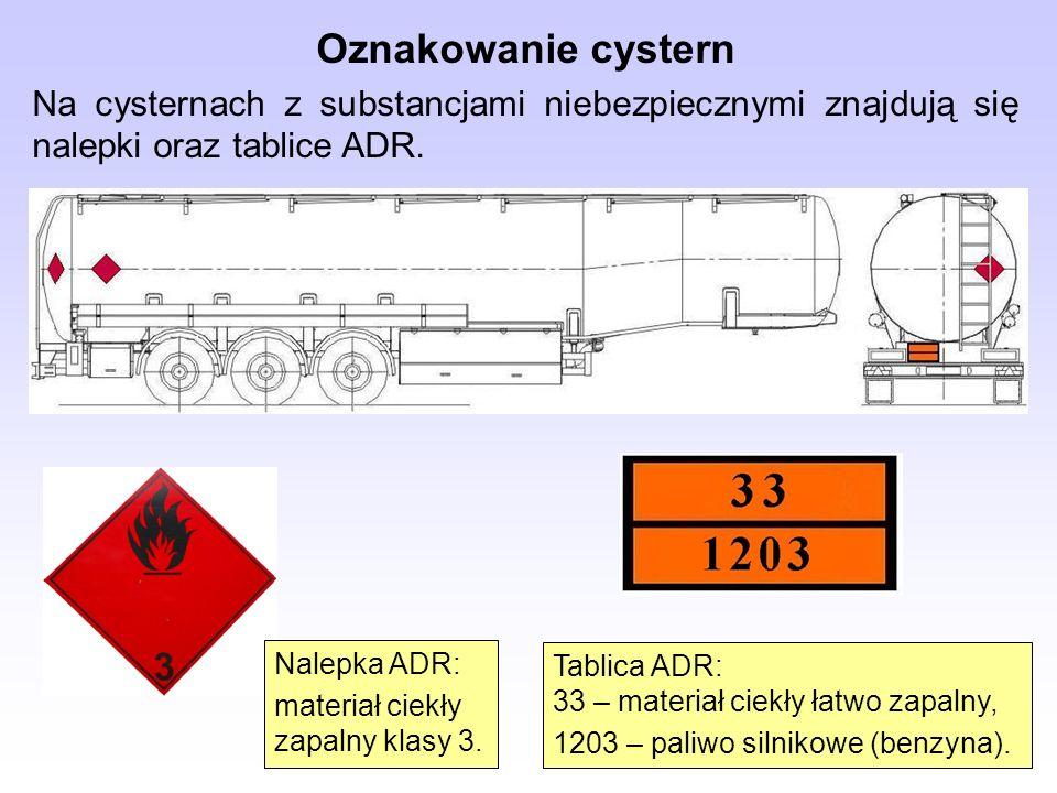 Oznakowanie cystern Na cysternach z substancjami niebezpiecznymi znajdują się nalepki oraz tablice ADR.