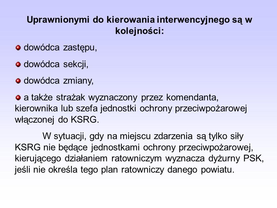 Uprawnionymi do kierowania interwencyjnego są w kolejności: