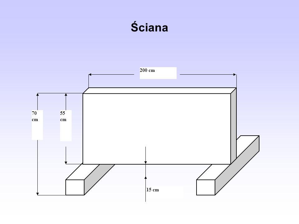 Ściana 15 cm 200 cm 55 cm 70 cm