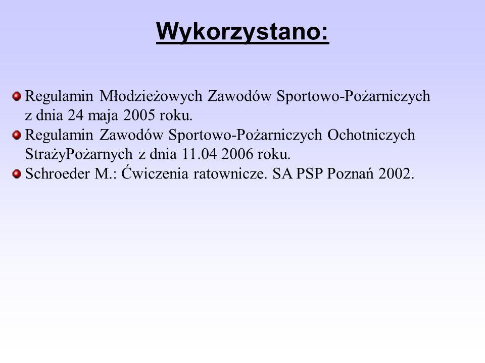 Wykorzystano: Regulamin Młodzieżowych Zawodów Sportowo-Pożarniczych z dnia 24 maja 2005 roku.
