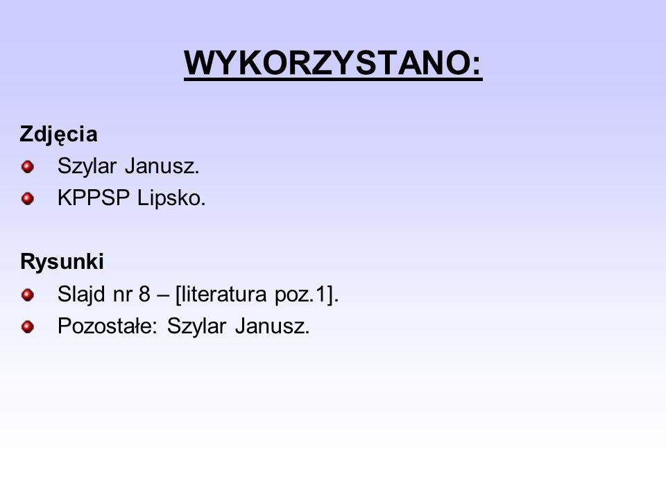WYKORZYSTANO: Zdjęcia Szylar Janusz. KPPSP Lipsko. Rysunki