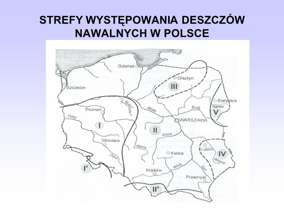 STREFY WYSTĘPOWANIA DESZCZÓW NAWALNYCH W POLSCE