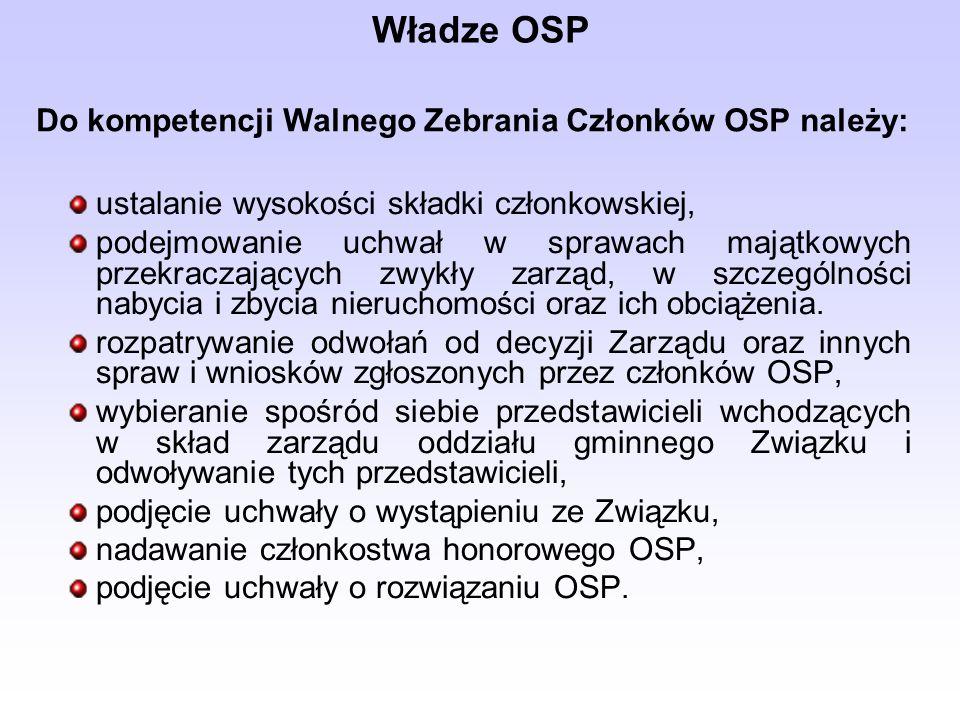 Władze OSP Do kompetencji Walnego Zebrania Członków OSP należy: