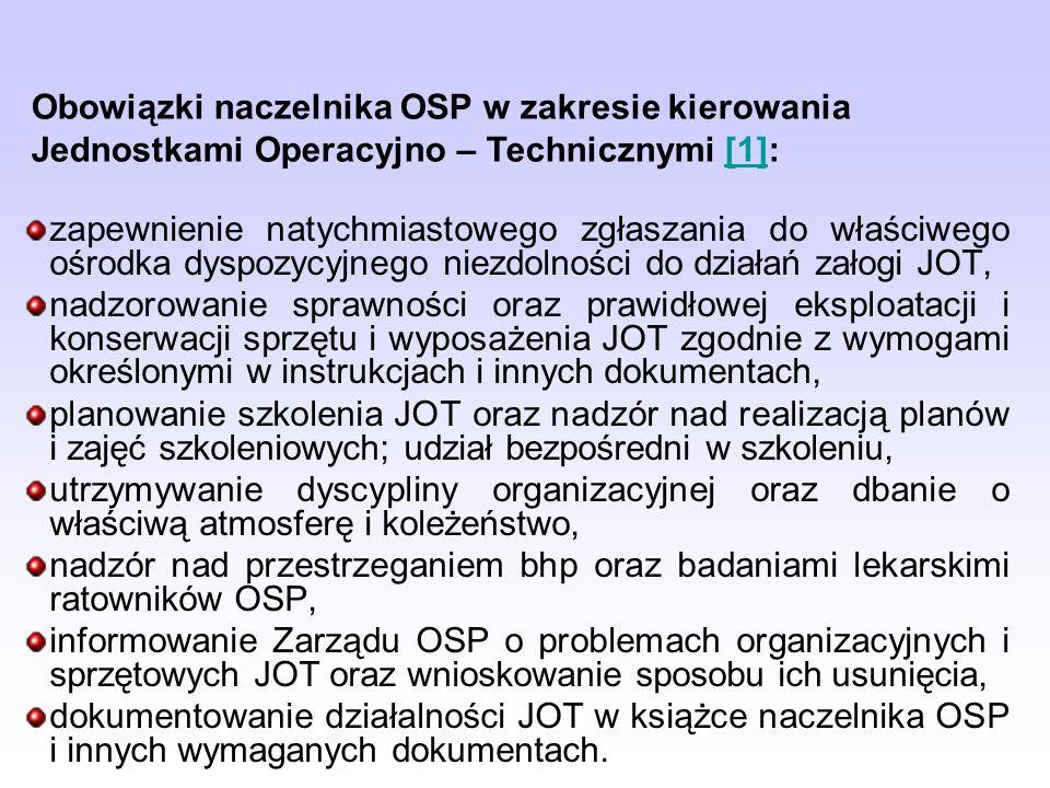 Obowiązki naczelnika OSP w zakresie kierowania