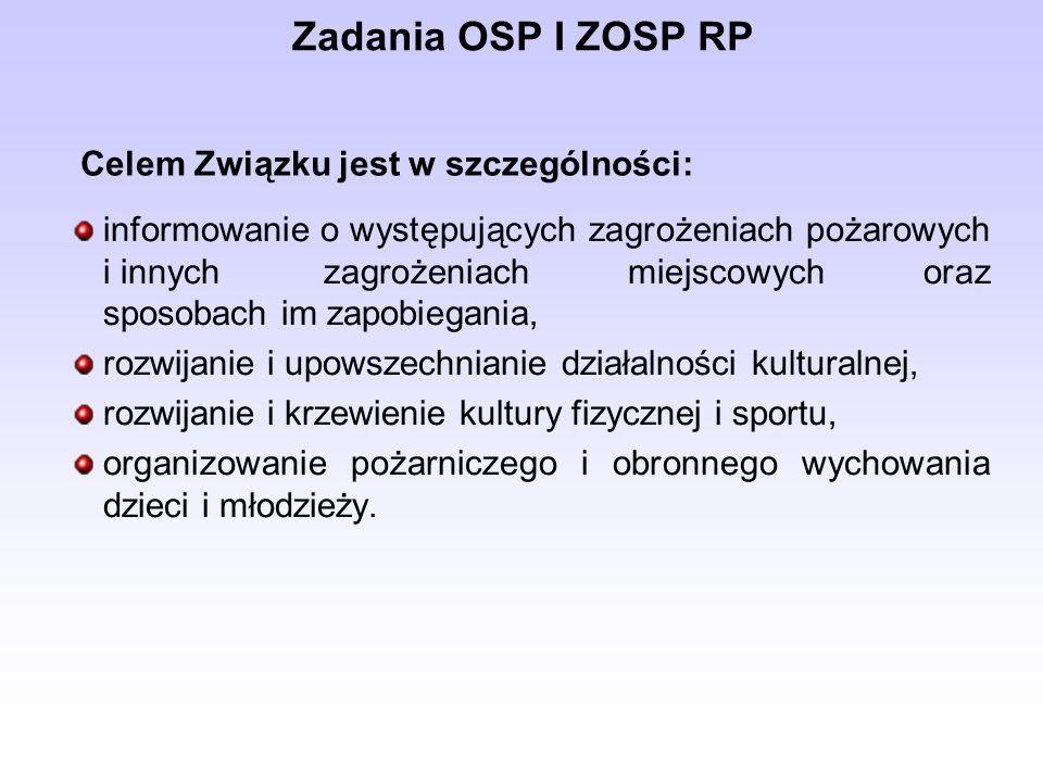 Zadania OSP I ZOSP RP Celem Związku jest w szczególności: