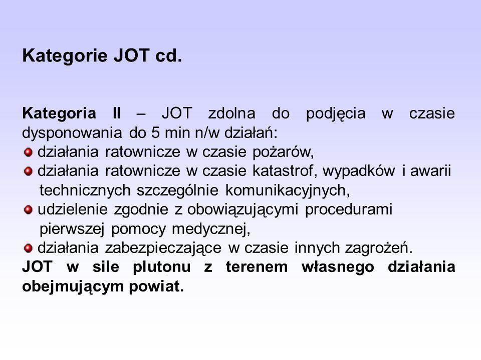 Kategorie JOT cd.Kategoria II – JOT zdolna do podjęcia w czasie dysponowania do 5 min n/w działań: działania ratownicze w czasie pożarów,