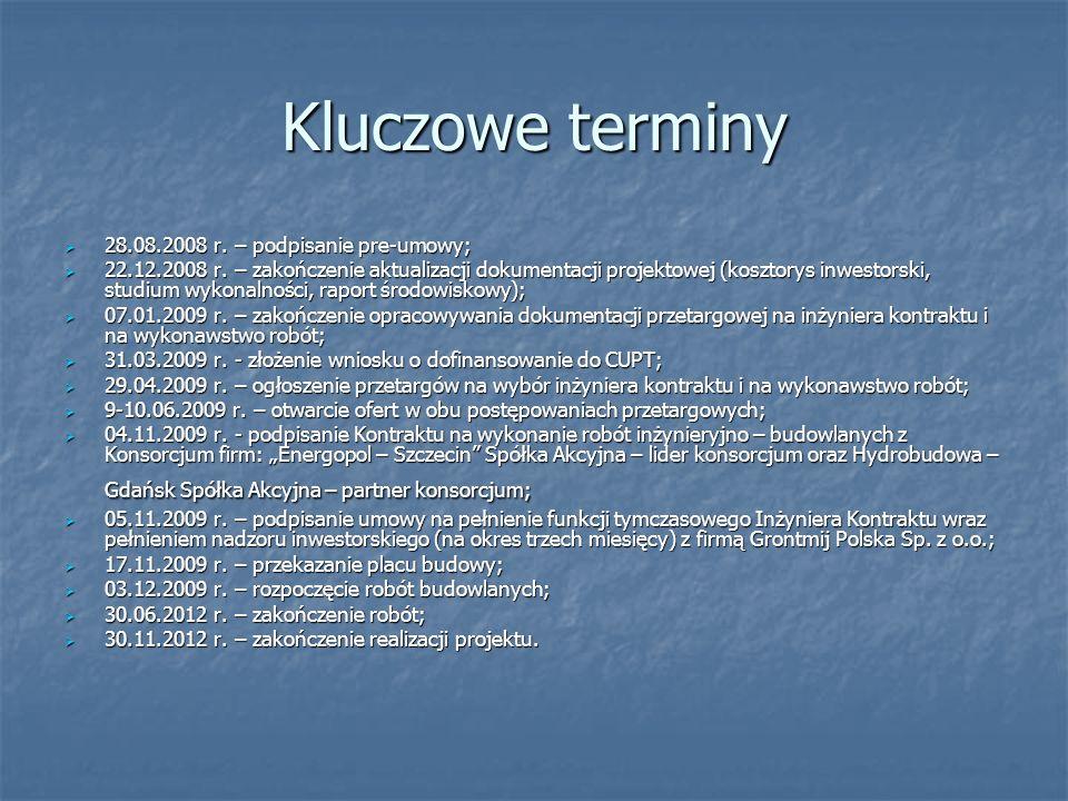 Kluczowe terminy 28.08.2008 r. – podpisanie pre-umowy;