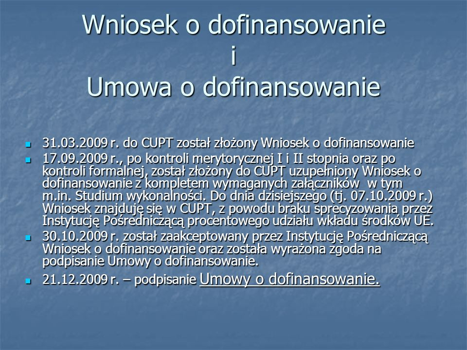 Wniosek o dofinansowanie i Umowa o dofinansowanie