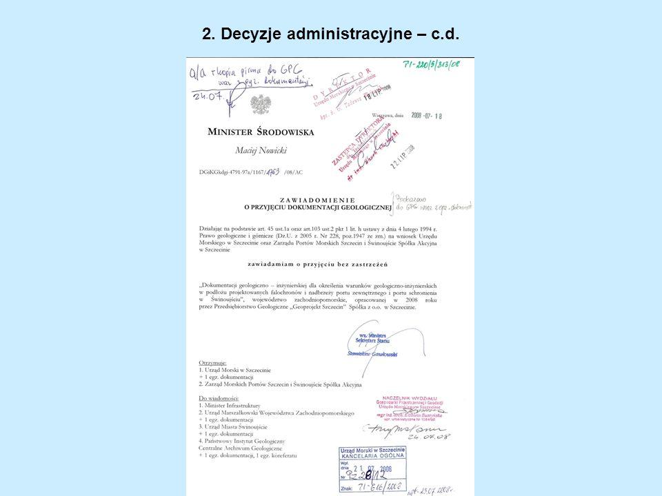 2. Decyzje administracyjne – c.d.