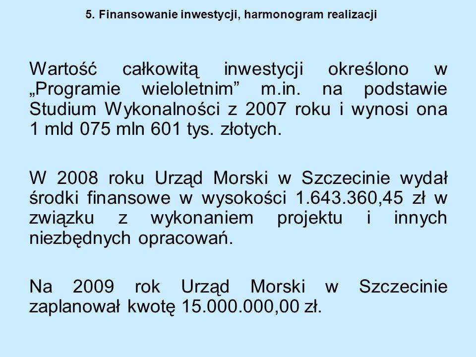 5. Finansowanie inwestycji, harmonogram realizacji