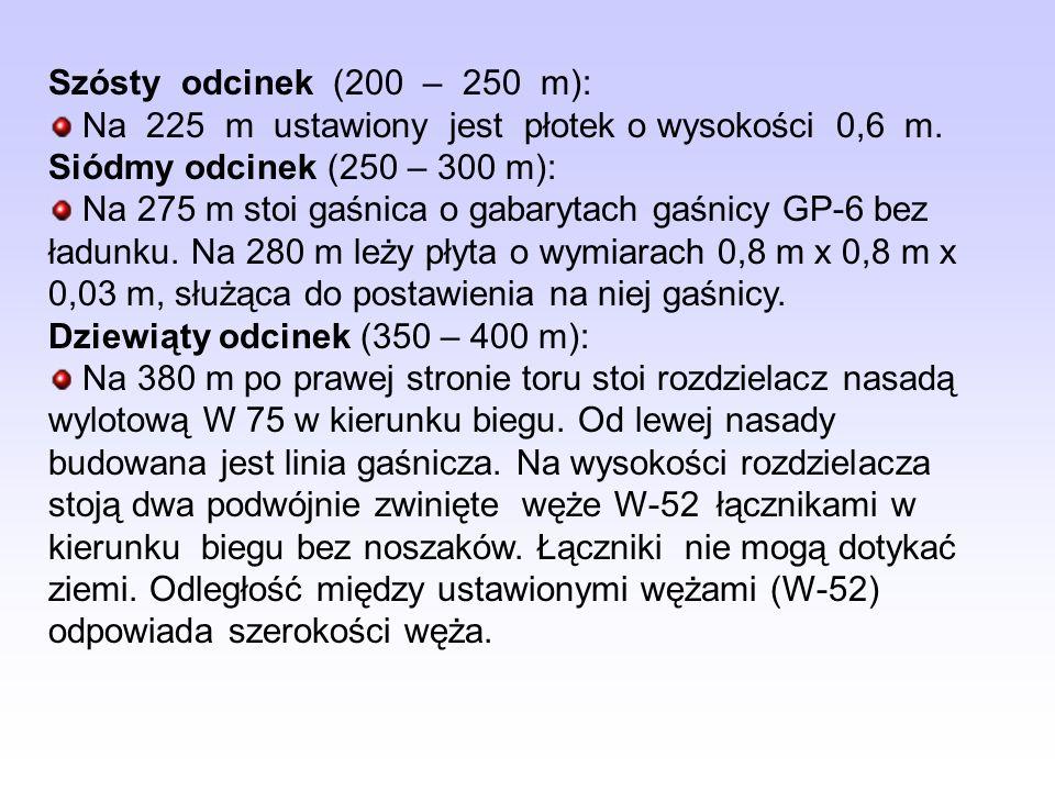 Szósty odcinek (200 – 250 m): Na 225 m ustawiony jest płotek o wysokości 0,6 m. Siódmy odcinek (250 – 300 m):