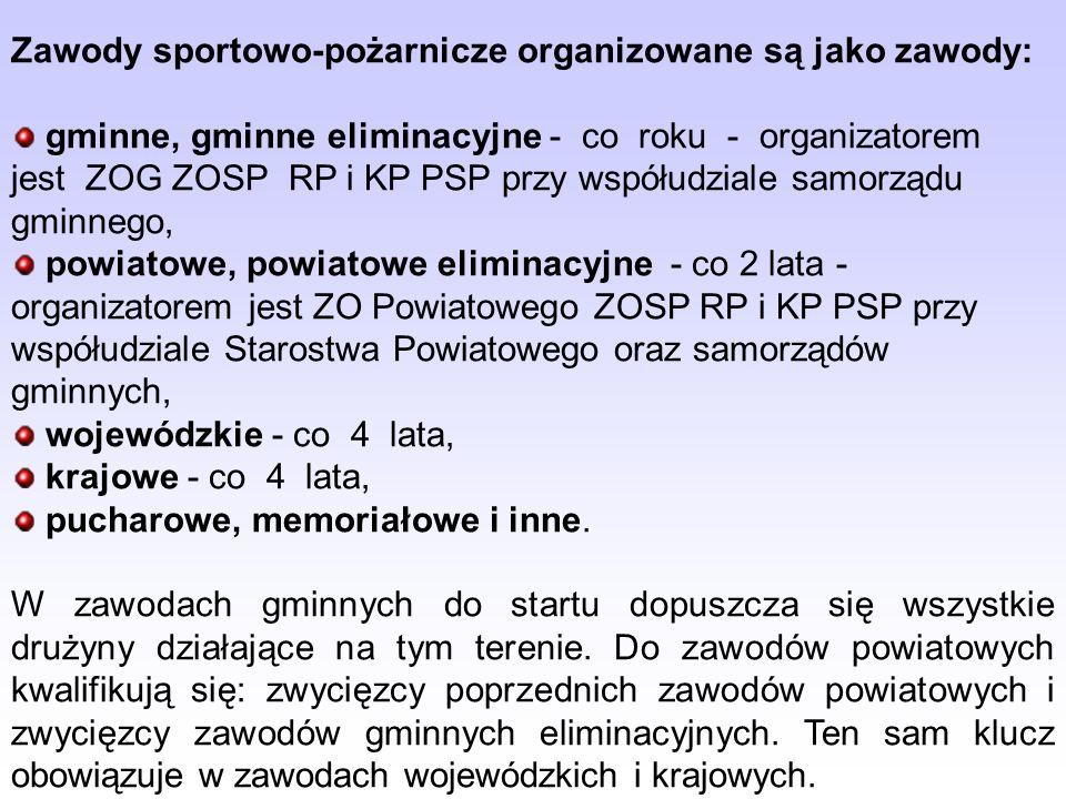 Zawody sportowo-pożarnicze organizowane są jako zawody: