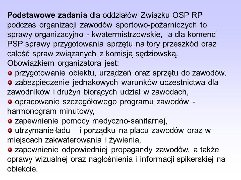 Podstawowe zadania dla oddziałów Związku OSP RP podczas organizacji zawodów sportowo-pożarniczych to sprawy organizacyjno - kwatermistrzowskie, a dla komend PSP sprawy przygotowania sprzętu na tory przeszkód oraz całość spraw związanych z komisją sędziowską.