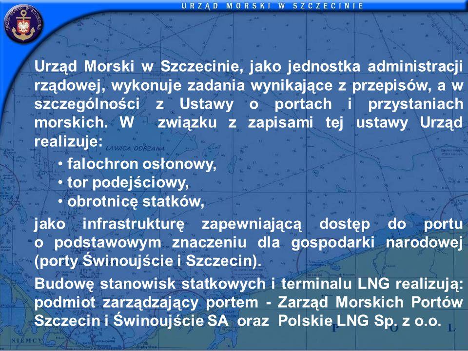Urząd Morski w Szczecinie, jako jednostka administracji rządowej, wykonuje zadania wynikające z przepisów, a w szczególności z Ustawy o portach i przystaniach morskich. W związku z zapisami tej ustawy Urząd realizuje: