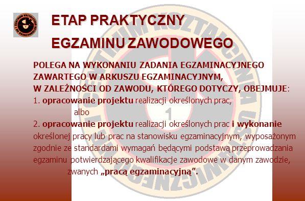 ETAP PRAKTYCZNY EGZAMINU ZAWODOWEGO