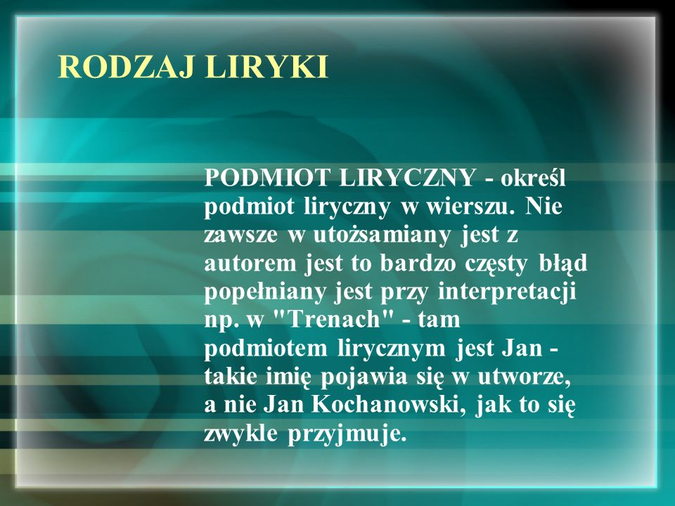RODZAJ LIRYKI
