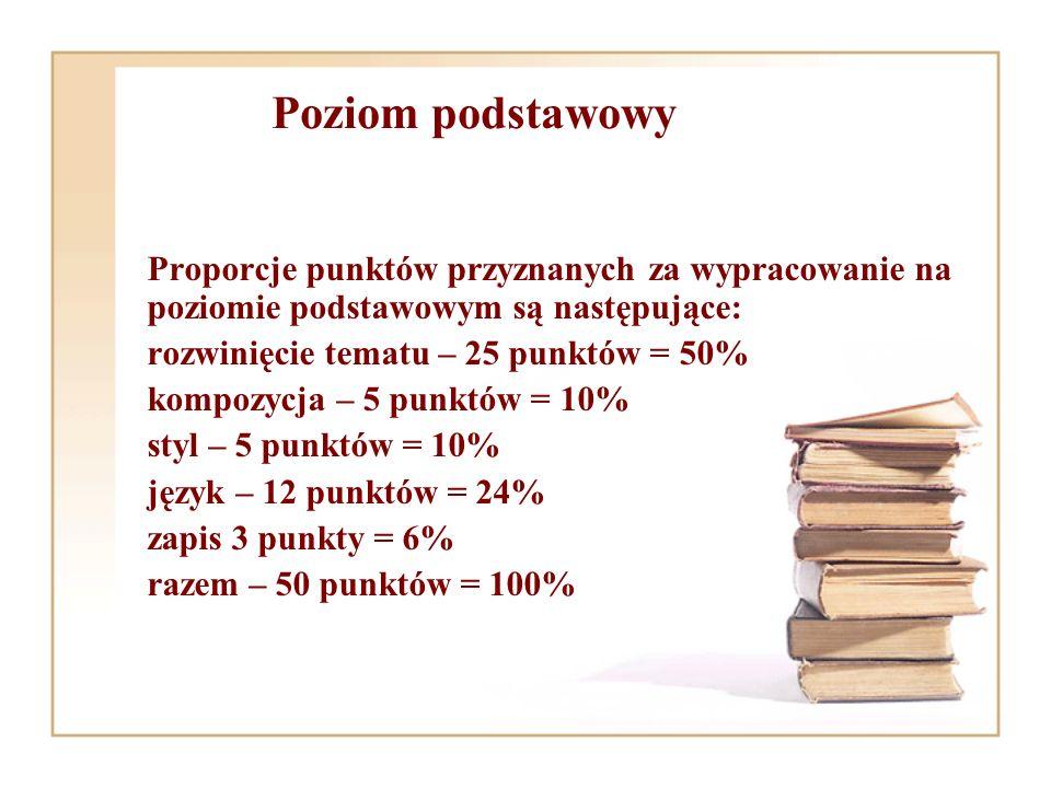 Poziom podstawowy Proporcje punktów przyznanych za wypracowanie na poziomie podstawowym są następujące: