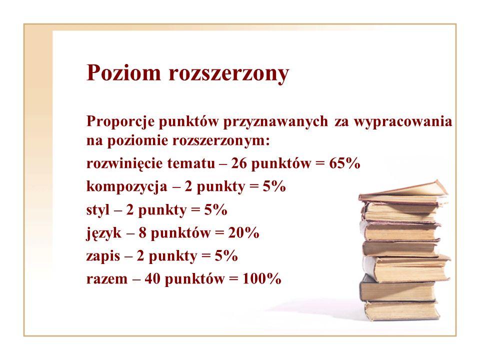 Poziom rozszerzony Proporcje punktów przyznawanych za wypracowania na poziomie rozszerzonym: rozwinięcie tematu – 26 punktów = 65%
