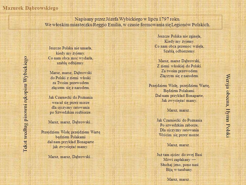 Tekst według pisowni rękopisu Wybickiego
