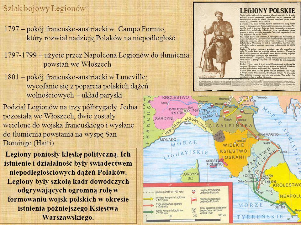 Szlak bojowy Legionów1797 – pokój francusko-austriacki w Campo Formio, który rozwiał nadzieję Polaków na niepodległość.
