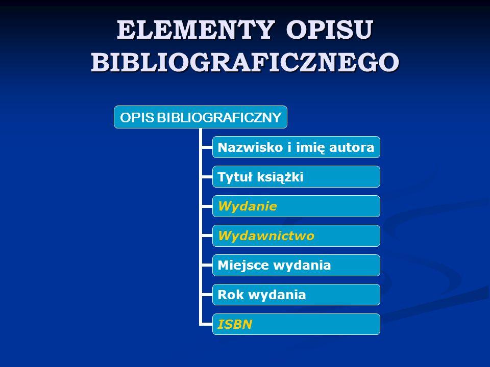ELEMENTY OPISU BIBLIOGRAFICZNEGO