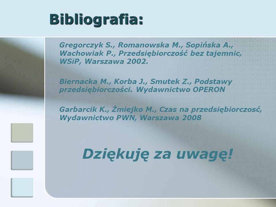 Bibliografia: Dziękuję za uwagę!