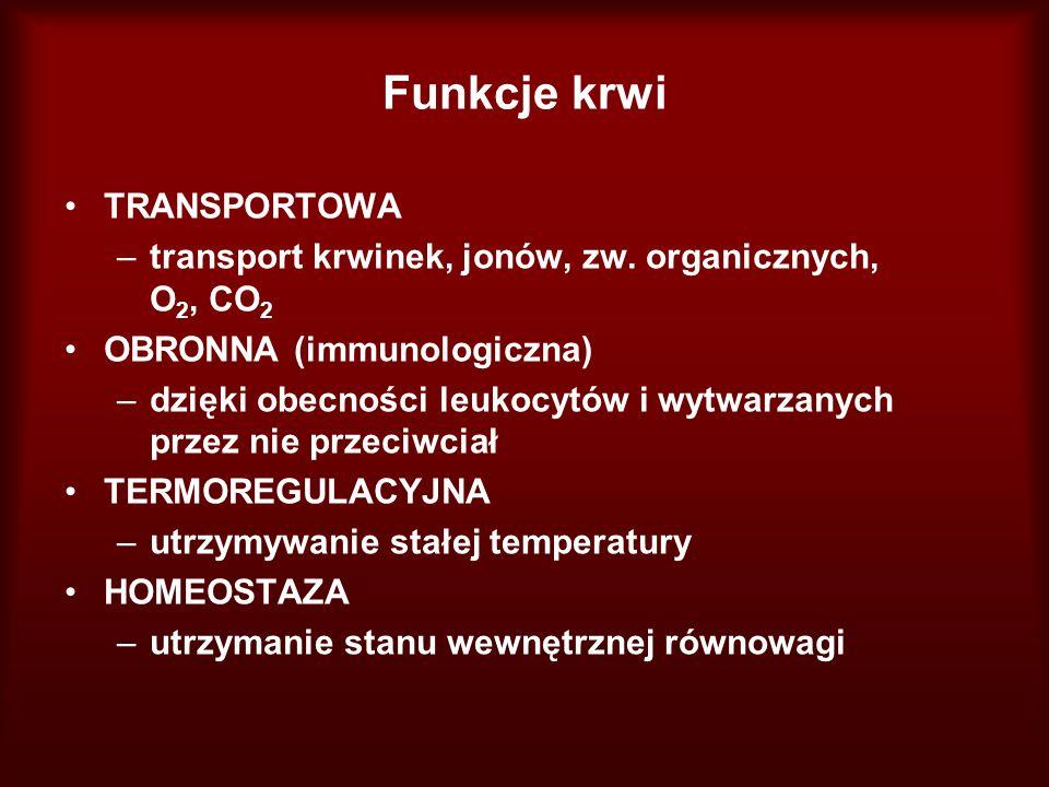 Funkcje krwi TRANSPORTOWA