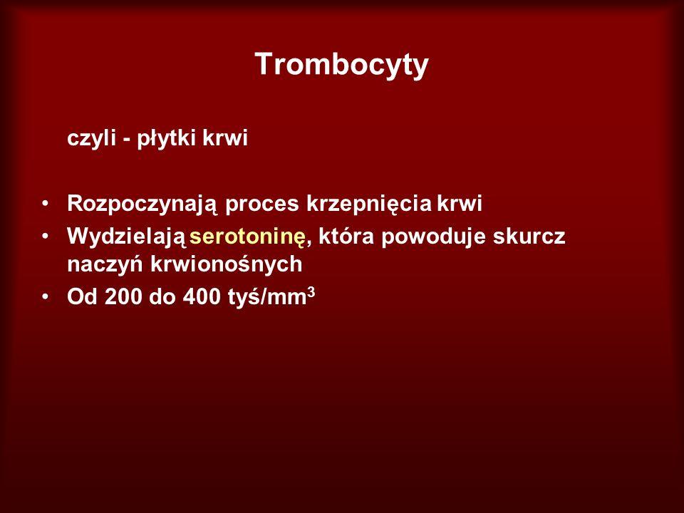 Trombocyty czyli - płytki krwi Rozpoczynają proces krzepnięcia krwi