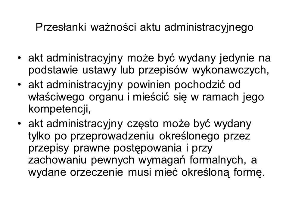 Przesłanki ważności aktu administracyjnego
