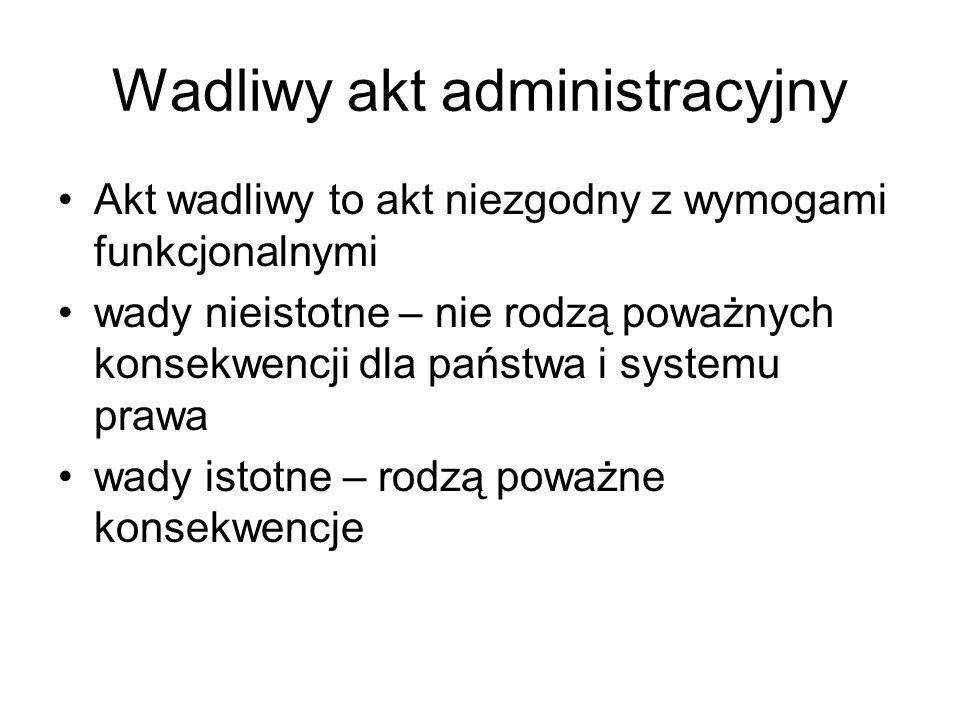Wadliwy akt administracyjny