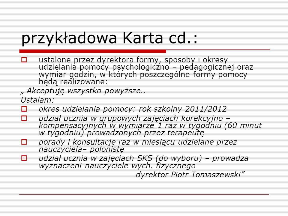 przykładowa Karta cd.: