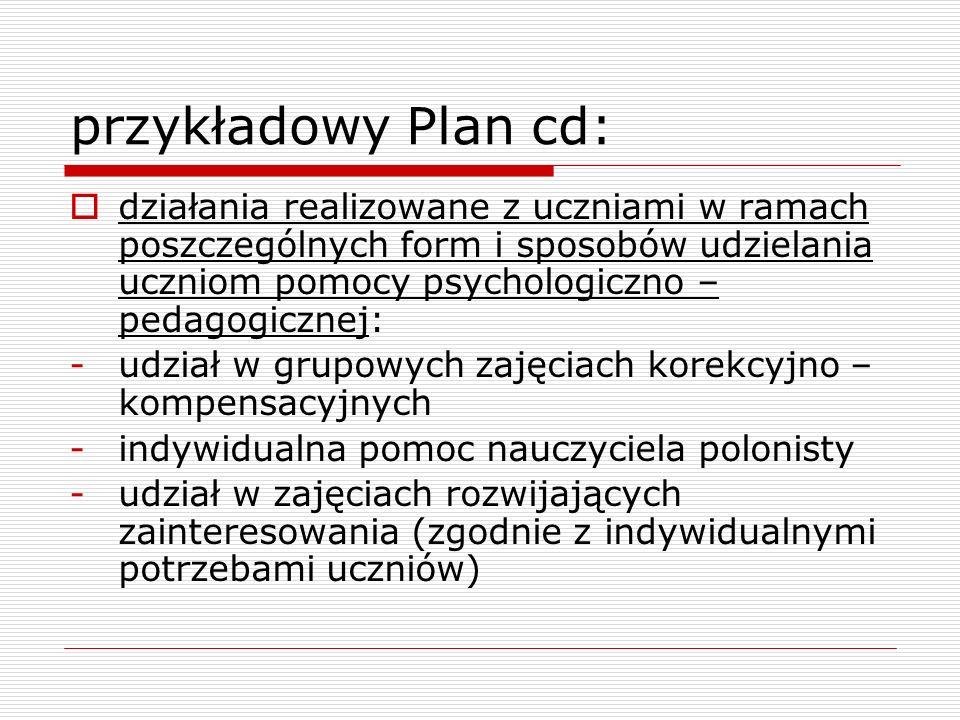 przykładowy Plan cd: