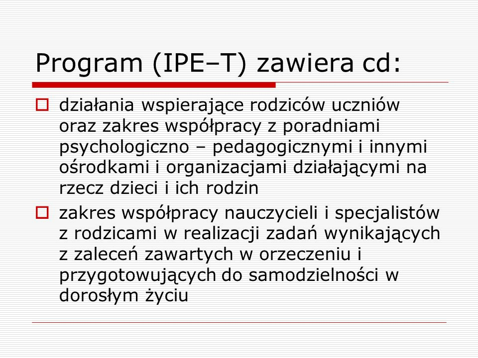 Program (IPE–T) zawiera cd:
