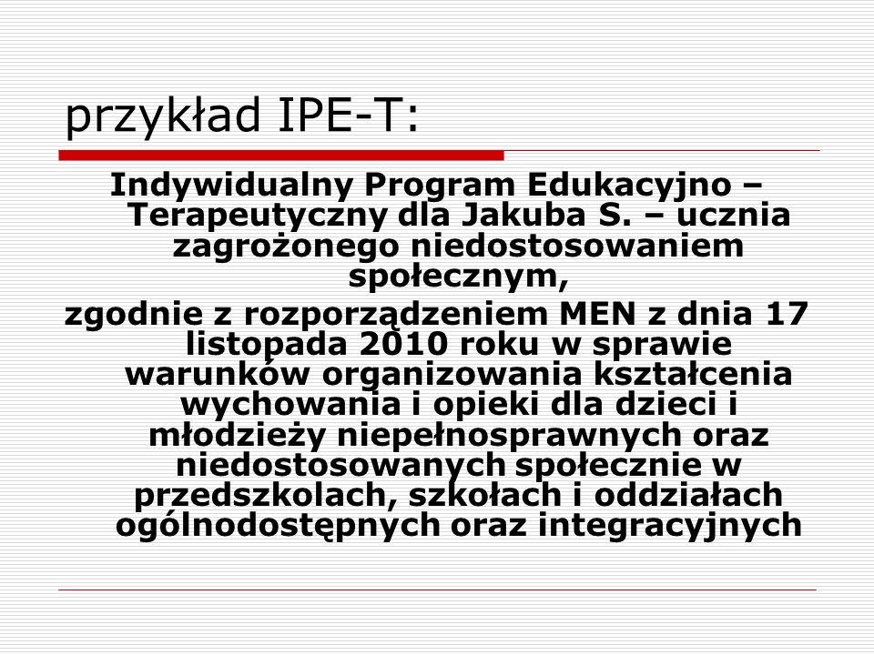 przykład IPE-T:Indywidualny Program Edukacyjno – Terapeutyczny dla Jakuba S. – ucznia zagrożonego niedostosowaniem społecznym,