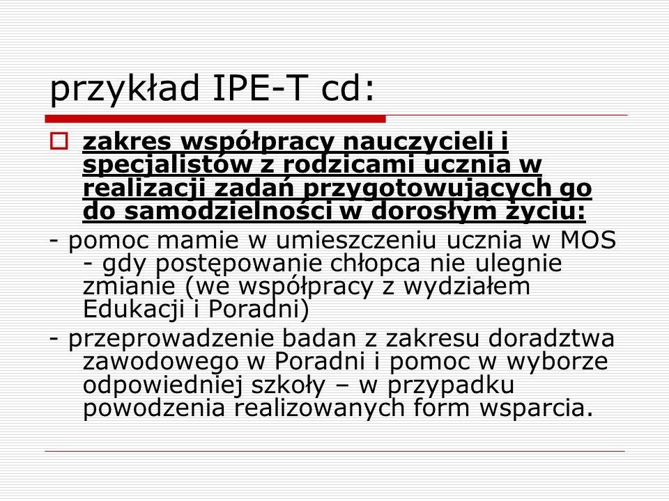 przykład IPE-T cd:
