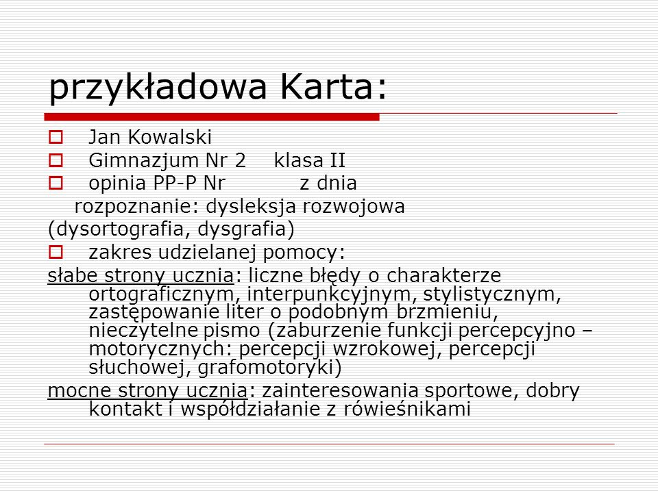 przykładowa Karta: Jan Kowalski Gimnazjum Nr 2 klasa II