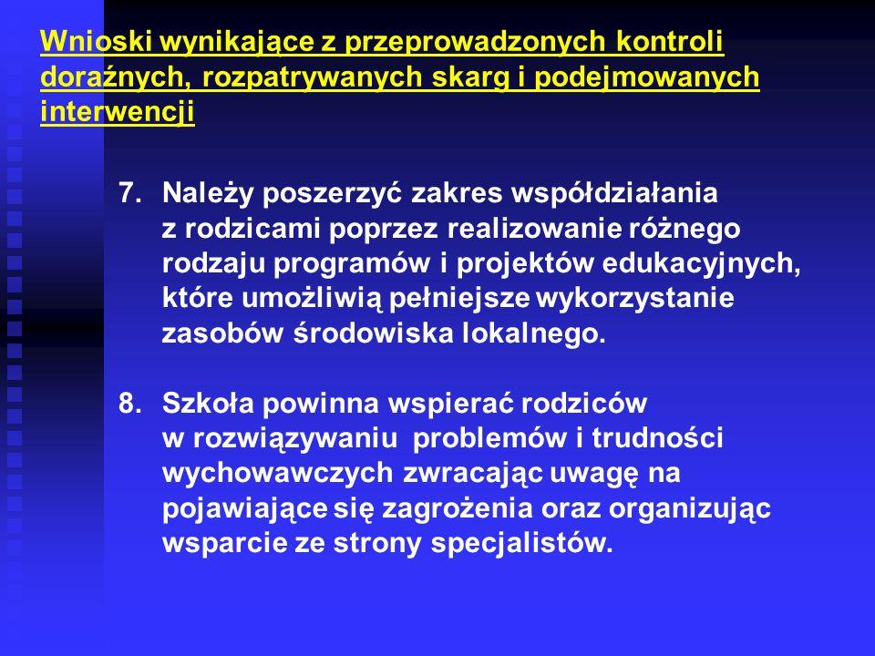 Wnioski wynikające z przeprowadzonych kontroli doraźnych, rozpatrywanych skarg i podejmowanych interwencji