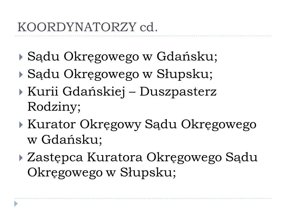 KOORDYNATORZY cd. Sądu Okręgowego w Gdańsku; Sądu Okręgowego w Słupsku; Kurii Gdańskiej – Duszpasterz Rodziny;