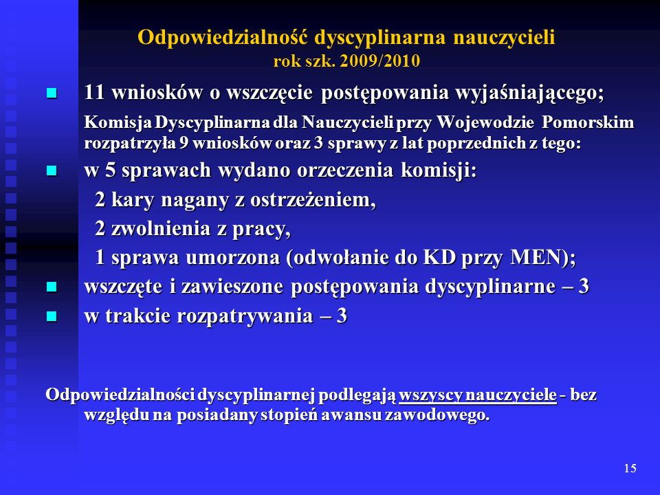 Odpowiedzialność dyscyplinarna nauczycieli rok szk. 2009/2010
