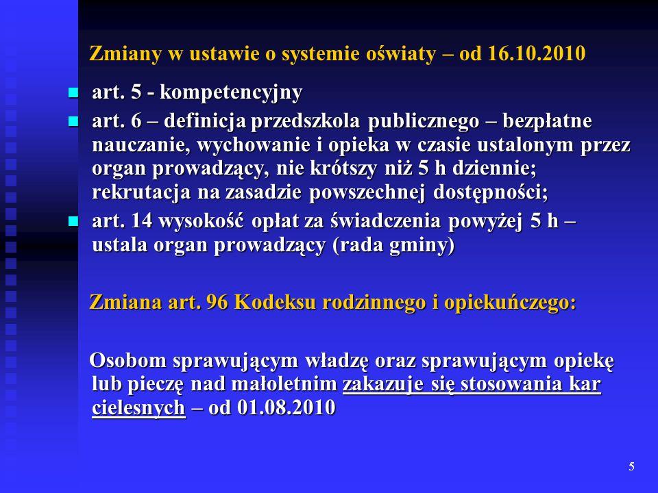 Zmiany w ustawie o systemie oświaty – od 16.10.2010