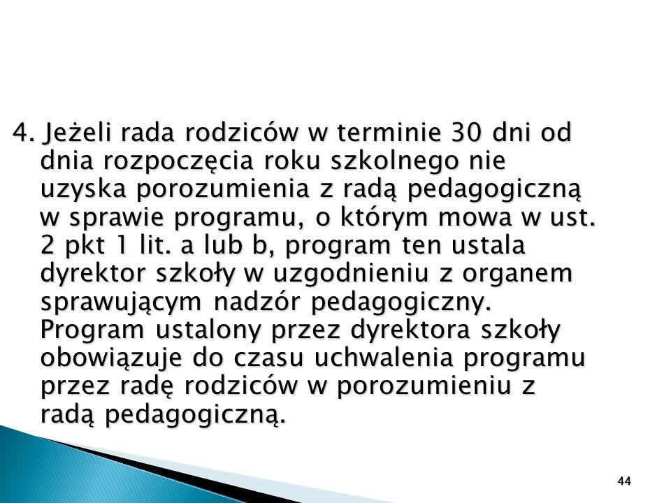 4. Jeżeli rada rodziców w terminie 30 dni od dnia rozpoczęcia roku szkolnego nie uzyska porozumienia z radą pedagogiczną w sprawie programu, o którym mowa w ust. 2 pkt 1 lit. a lub b, program ten ustala dyrektor szkoły w uzgodnieniu z organem sprawującym nadzór pedagogiczny. Program ustalony przez dyrektora szkoły obowiązuje do czasu uchwalenia programu przez radę rodziców w porozumieniu z radą pedagogiczną.