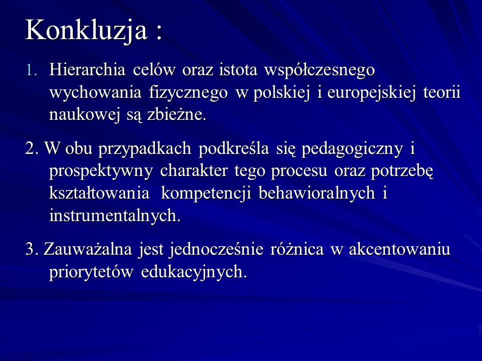 Konkluzja : Hierarchia celów oraz istota współczesnego wychowania fizycznego w polskiej i europejskiej teorii naukowej są zbieżne.