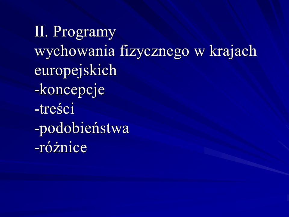II. Programy wychowania fizycznego w krajach europejskich
