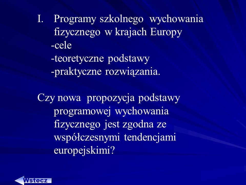 Programy szkolnego wychowania fizycznego w krajach Europy -cele