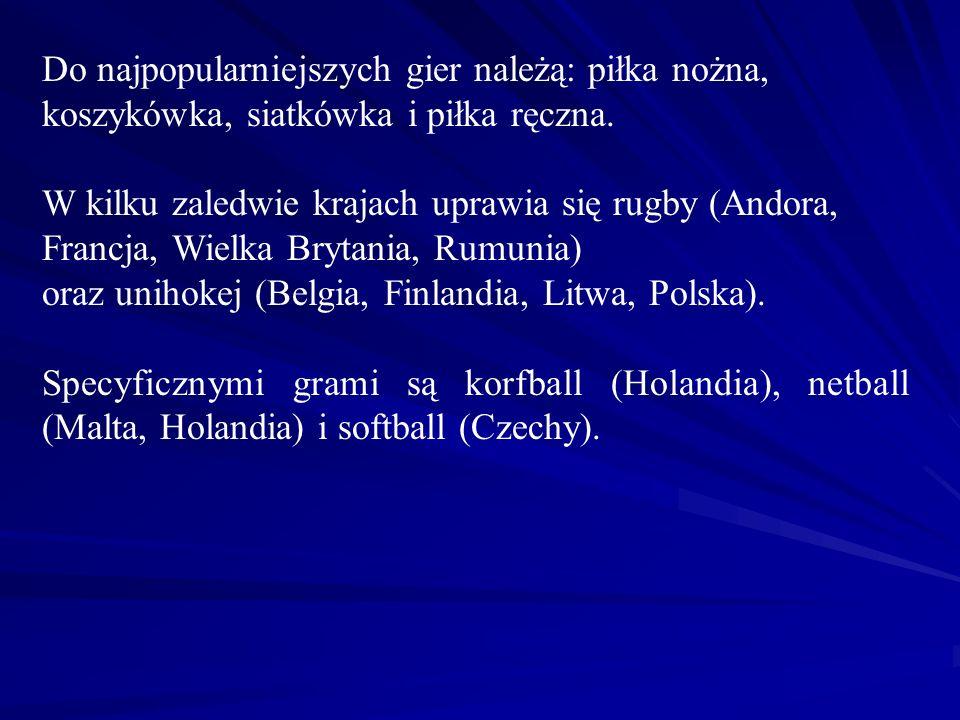 Do najpopularniejszych gier należą: piłka nożna, koszykówka, siatkówka i piłka ręczna.