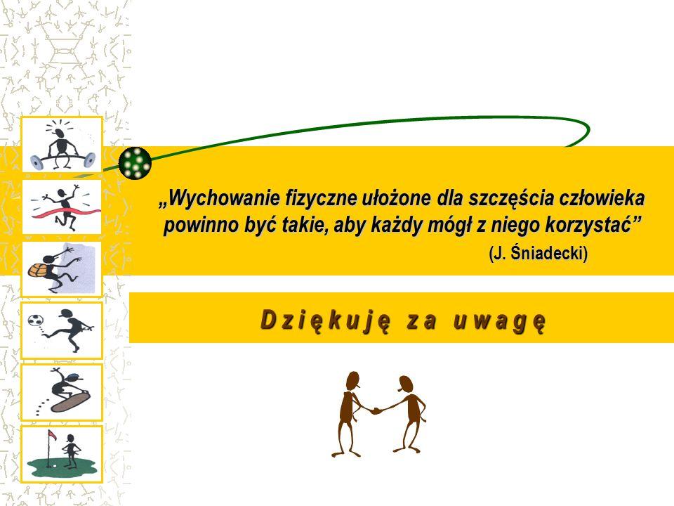 """""""Wychowanie fizyczne ułożone dla szczęścia człowieka powinno być takie, aby każdy mógł z niego korzystać (J. Śniadecki)"""