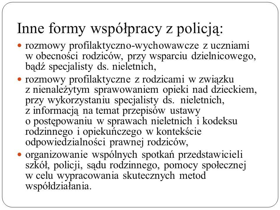 Inne formy współpracy z policją: