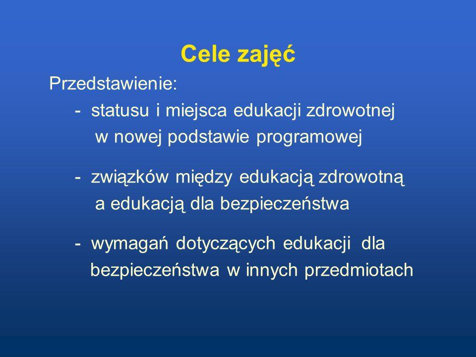 Cele zajęć Przedstawienie: - statusu i miejsca edukacji zdrowotnej