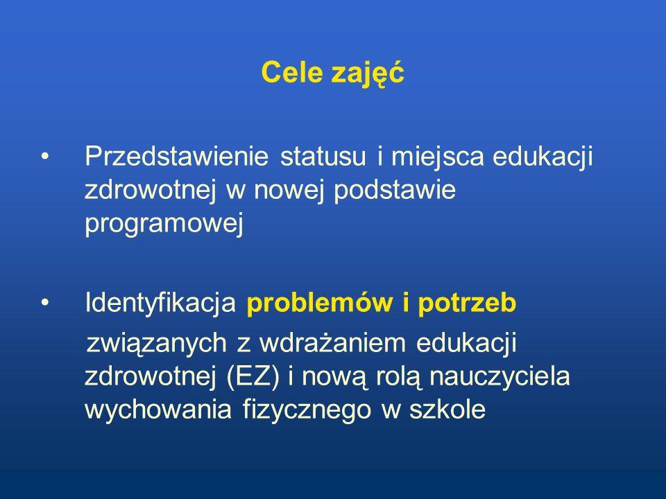 Cele zajęć Przedstawienie statusu i miejsca edukacji zdrowotnej w nowej podstawie programowej. Identyfikacja problemów i potrzeb.
